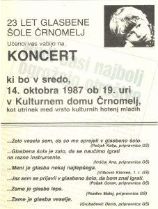 Vabilo na koncert Glasbene šole Črnomelj, 1987. SI_ZAL_ČRN/0082 Glasbena šola Črnomelj, t. e. 8, a. e. 25.