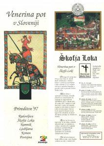 Naslovnica in notranja stran skupne publikacije slovenskih mest, vključenih v projekt Venerina pot.