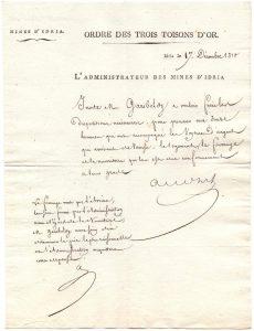Pismo v francoščini, naslovljeno na rudniškega direktorja Gariboldija (SI_ZAL_IDR/0055 Rudnik živega srebra Idrija, fasc. 913)
